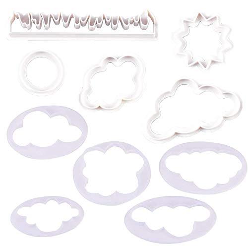 10 Stk Cloud Ausstecher Wolke Fondant Plastik Kuchen Dekoration Wolke Form Plastik Kuchen Dekorieren Sicher Gesund, für Süßigkeiten, Teig, Sandwiches, Backraum, Café, Geburtstag, Hochzeitstorte—Weiß