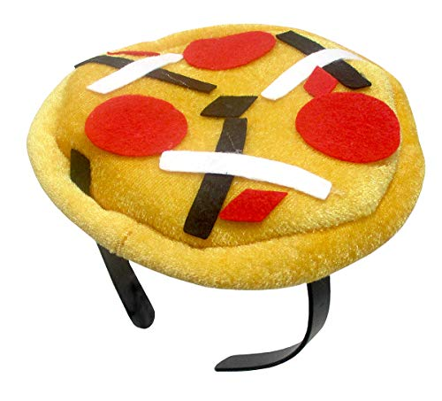 Adult Mini Pizza Hat Headband- Pepperoni Pie Food Vendor Cap Costume Accessory