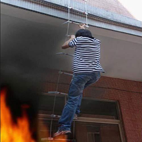 MAHFEI Escalera De Cuerda, Aleación De Aluminio Escaleras De Evacuación Hogar Escalera De Incendios Escalera De Evacuación Cuerda De Alambre con Un Gancho Grande Capacidad De Peso hasta 300 Kg