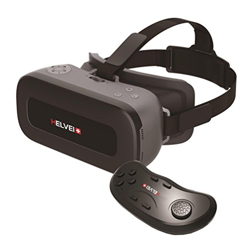 Helvei 2K All In One Virtual Reality Headset Works Without Smartphone Includes Bluetooth Game Controller - Black/Grey