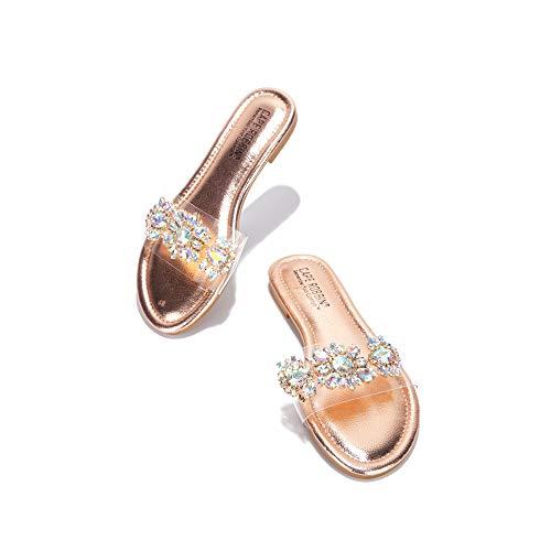 Cape Robbin Sunni Flat Sandals Slides for Women, Womens Mules Slip On Shoes gold Size: 4 UK