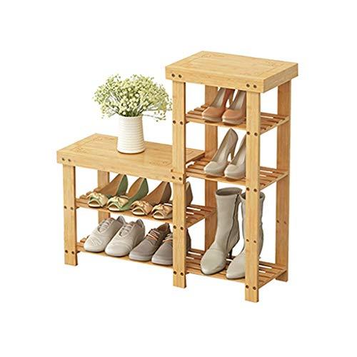 XUSHEN-HU Moderna Simple Zapato Economía Inicio Plataforma compartida de Tres Pisos de Calzado Soporte Foyer Alto y Bajo Banco Zapatero Zapato 88x28x84cm