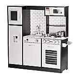 wuuhoo® I Kinderküche Spielküche Jamie I Große Holzküche für Gourmets und Chefköche mit Spüle Herd Eiswürfelspender in hochwertiger Optik mit Edelstahl Geschirr und umfangreichen Zubehör Set