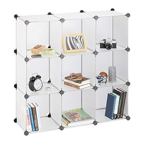 Relaxdays Regalsystem 9 Fächer, Raumteiler Kunststoff, Standregal offen, Badregal DIY, HBT: 95 x 95 x 32 cm, transparent