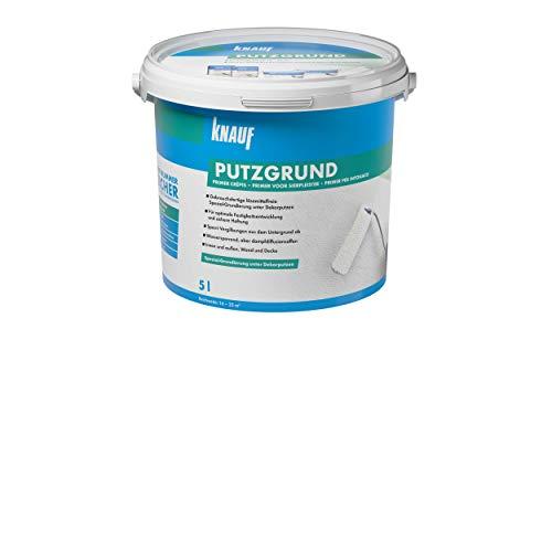 Knauf 5761 5 L Putzgrund, gebrauchsfertige Grundierung, Haftvermittler vor dem Auftragen von mineralischen Dekorputzen, atmungsaktiv, lösemittelfrei für Innen-und Außenbereiche, Weiß