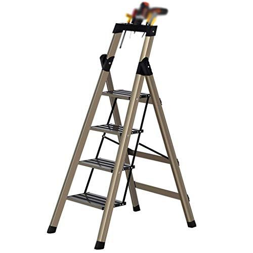 N/Z Tägliche Ausrüstung Trittleiter Leitern Trittleiter Goldene Werkzeugleiter Praktische Leiter aus Aluminiumlegierung Vierstufige Anti-S-Trittleiter Rahmen/Top-Werkzeugtisch Design Faltschritte GOL