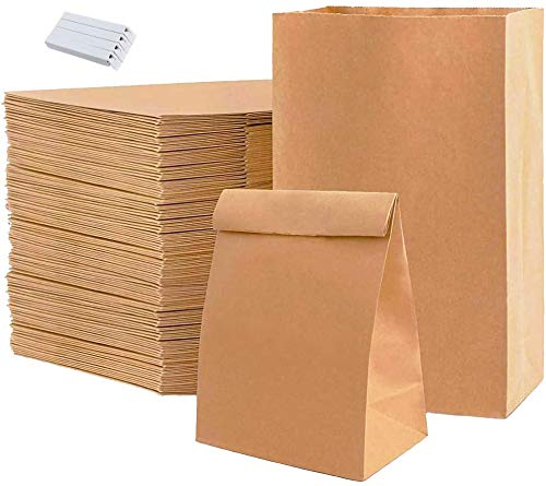 Old Tjikko 50 Stück Papiertüten Braun,Braune Beutel,30 * 20 * 12cm Praktische Bodenbeutel,für Süßigkeiten,Brot Keksverpackung,geschenktüten papier,Ostertaschen Christmas,Tüten aus Braun Kraft