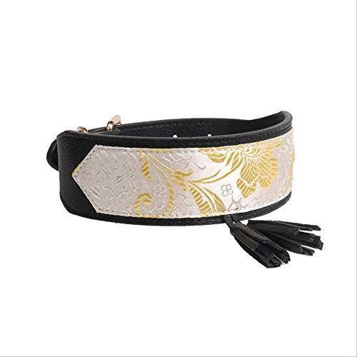 Collar De Perro De Cuero con Estampado De Flores Collar De Pitbull Collar De Cachorro para Mascotas para Perros Medianos Grandes Greyhound Doberman Pitbull Negro Amarillo Claro-2.5x50cm