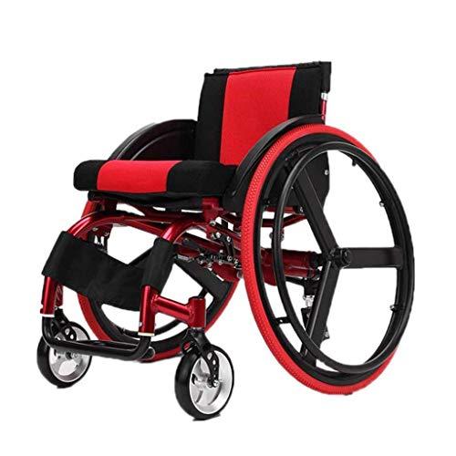 QWEZXC Tragbarer Rollstuhl, Leichter Power Assist Active Basketball Sport Manueller Rollstuhl mit Sportrollstuhl, Anti-Heck-Kippvorrichtung, Sport- und Freizeitrollstühlen