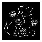 Strassmotiv - Hund und Katze Bügelbild aus Strasssteinen