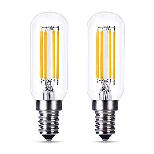 Bombilla LED E14 Regulable Luz Calida 2700K, T25, 4W Retro Edison LED Equivalente a 40W, 400LM, Bombillas Filamento Vintage E14 Pequeña para Campana Extractora, Lámpara de Techo, pack de 2