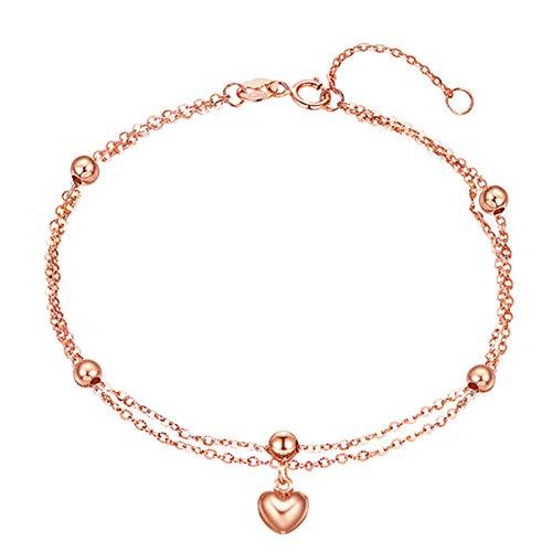 KnSam 18K Oro Rosa Pulsera, Brazalete Corazón Rosario, Color Oro Rosa Regalo para Amantes