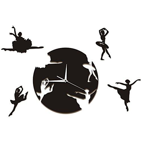HHKLSF Fließende Ballerinas Wandkunst Tanzsaal Wanddekor Uhr Tanzende Mädchen Dekorative Wanduhren Escape Girls Clock Watch