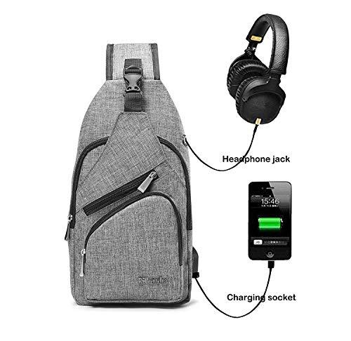 BSTcentelha, zaino a tracolla, per uomo o donna, leggero, per escursionismo e viaggi, con porta di ricarica USB (grigio)