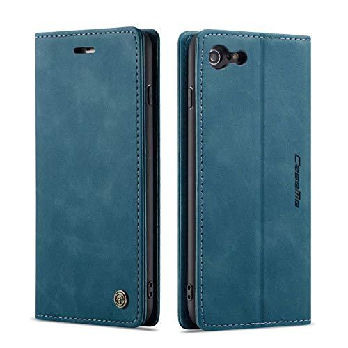 mvced Cover per iPhone 6 Plus 5.5,Flip Custodia Caso Libro Pelle PU e TPU Silicone Antiurto,Blu