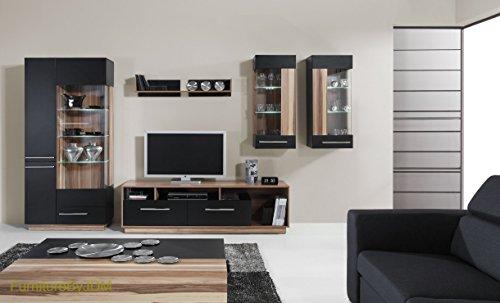 """TV Wohnwand, TV-Tisch Set, Wohnzimmer-Set \""""MONSUN\"""" Große TV-Bank, freistehend Display Einheit, wandhängend Regal, Black/Baltimore Nut, Monsun C"""