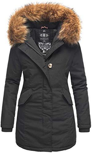Marikoo Damen Winter Jacke Parka Mantel Winterjacke warm gefüttert Kapuze B808 [B808-Ka-Pri-Schwarz-Gr.S]