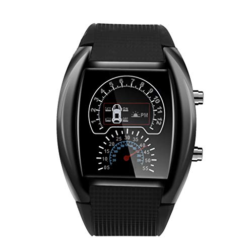 Fashion Men's Digital Watch, LED Speedometer Sports Car Dash Board Unique Square Dial Silicone Band Electronic Wristwatch Evangelia.YM (Black)