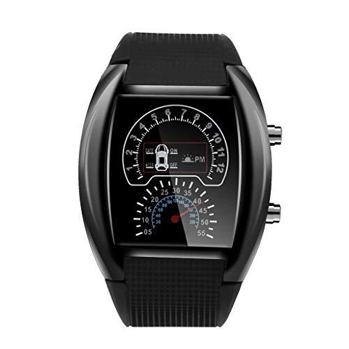 Yivise Reloj de medidor de Coche Deportivo Deportivo con velocímetro de luz LED de Moda para Hombre(A)