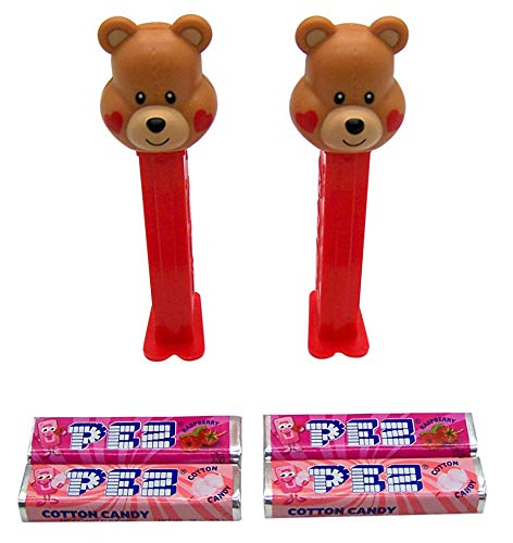 PEZ Valentine Bear with Hearts Candy and Dispensers, Pack of 2