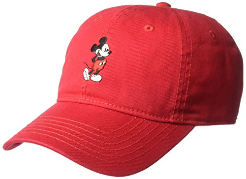Disney Men's Washed Twill Baseball Cap, Adjustable, Red Full Mickey, One Size