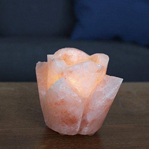 Biova Salzkristall Stein Teelichthalter Rosenform Qualität