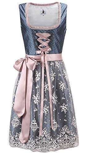 TrendiMax Trachten Damen Dirndl Midi Dirndlkleid Tachtenkleid für Oktoberfest mit Spitzenschürze 34-48