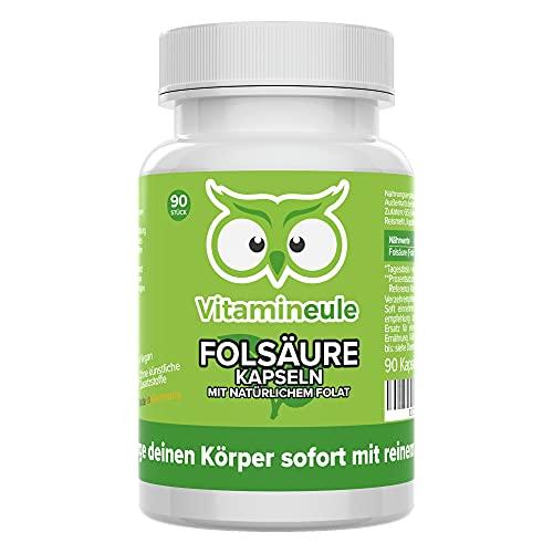 Folsäure Kapseln mit 100% natürlichem Folat - 400 µg 5-MTHF - hochdosiert - bei Kinderwunsch & Schwangerschaft - ohne künstliche Zusätze - Qualität aus Deutschland - Vitamin B9 ohne Jod - Vitamineule®