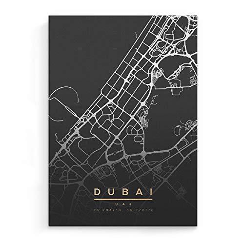 Druck Auf Leinwand – Moderne Wandkunst Für Wohnzimmer Schlafzimmer Dekoration Für Zu Hause Stadtkarte Map of Dubai UAE Cityescape Travel Gespannt Und Gerahmt Bereit Zum Aufhängen – 30 cm X 40 cm