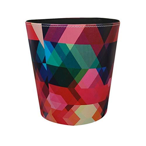 ZUJI Papierkörbe 10L Wasserdicht Haushalt Mülleimer für Küche, Büro, Schlafzimmer, Wohnzimmer-Bunte Geometrie