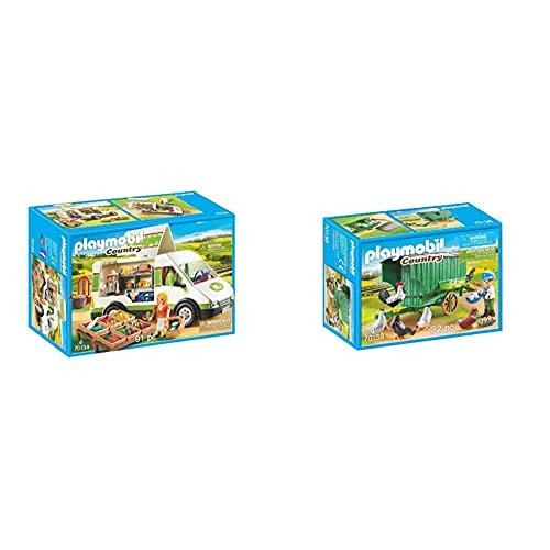Playmobil Country 70134 - Country - Furgone Del Mercato Bio, Dai 4 Anni & Country 70138 - Pollaio, Dai 4 Anni