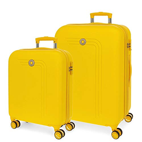 Movom Riga Juego de Maletas Amarillo 55/70 cms Rígida ABS Cierre combinación 109L 4 Ruedas Dobles Equipaje de Mano