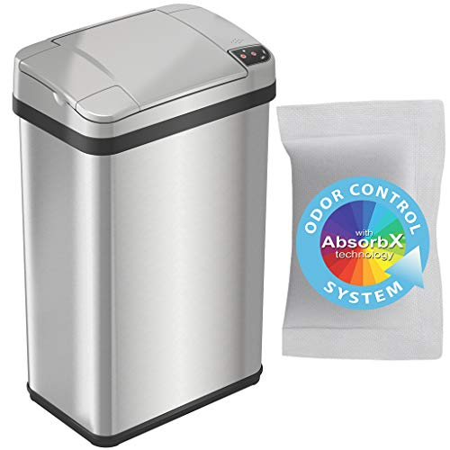iTouchless 4 Gallon Sensor Trash Can with AbsorbX Odor Filter and Lemon Fragrance, 15 Liter Touchless Automatic Stainless Steel Waste Bin, Perfect for Office and Bathroom