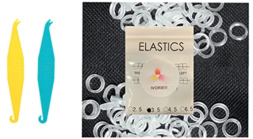 Dental Ortho Elastic Rubber Bands 100 Pack and Placers for Teeth Gap Closing (Clear 1/8' Heavy 4.5 oz)