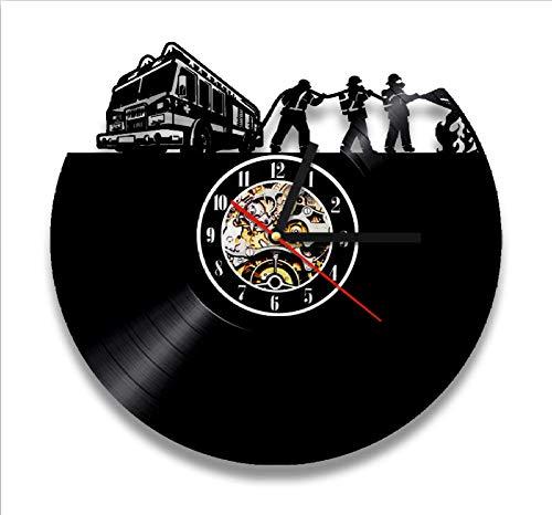 ClockHM Feuerwehr Art Wall Decor 3D Wanduhr 12 Zoll Vintage Vinyl Clock LP Rekord Wanduhren einzigartige Geschenke für Feuerwehrleute