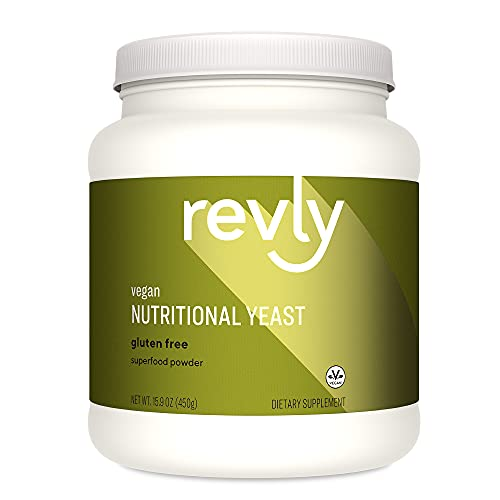 Revly Vegan Nutritional Yeast Non-Fortified Superfood 15.9 Oz. Powder - 6g Protein  Amino Acids  Vitamins  Minerals - 30 Servings