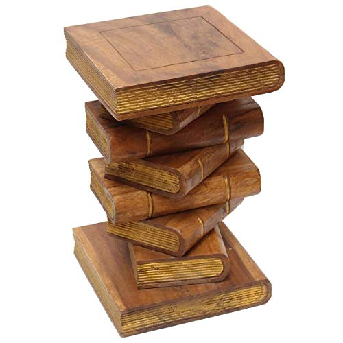 Oriental Galerie Nachttisch Beistelltisch Bücherhocker Tisch Hocker Buch Stapel Holz 50cm Groß, Farbe:Braun Gold