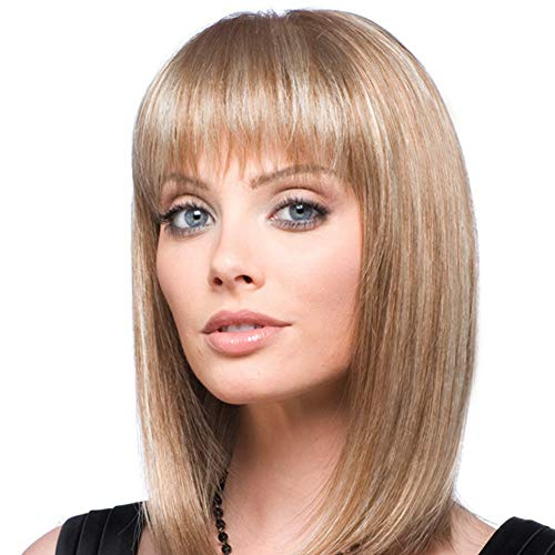 Emmor - Pelucas de cabello humano rubio natural para mujer, hasta los hombros, mezcla de peluca Bob con fibra Kanekalon saludable con flequillo recto, uso diario (color 30/613) (Rubio)