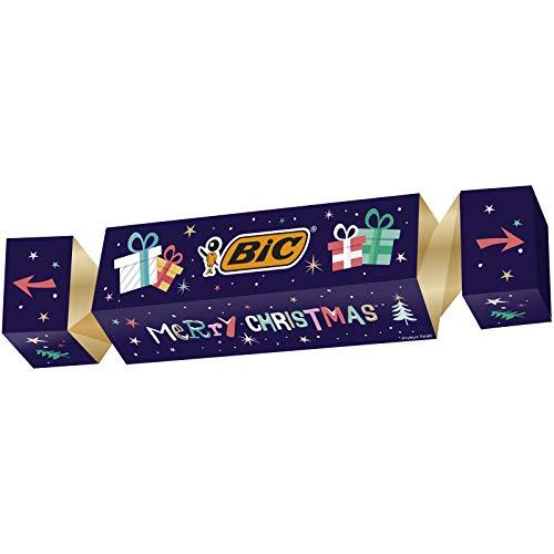 BIC Cracker de Navidad - Kit de regalo de papelería con 43 bolígrafos, 3 rotuladores, 10 pegatinas