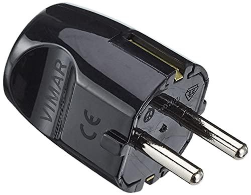 Vimar RI.00230N Spina (grande) 16 A 250 V, standard tedesco SCHUKO, uscita cavo assiale, nero