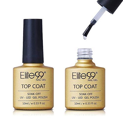 Elite99 UV LED NO Wipe Top Coat, UV Nagellack Gel Nagellack Gellack Überlack Nägel Maniküre UV LED Gellack Gel Nagellack Gel Polish - 10ml
