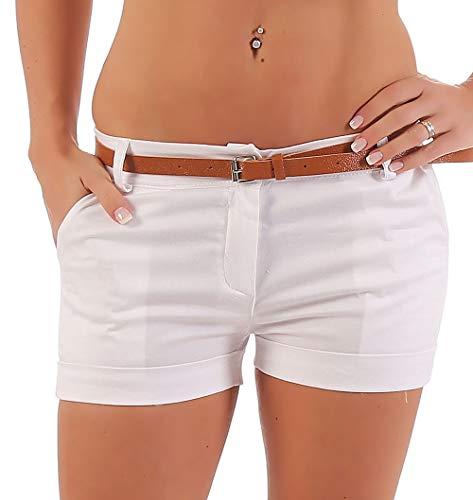 Malito Damen Chino Shorts in Unifarben | lässige Kurze Hose | Bermuda für den Strand | Pants - Hotpants 5397 (weiß, XL)
