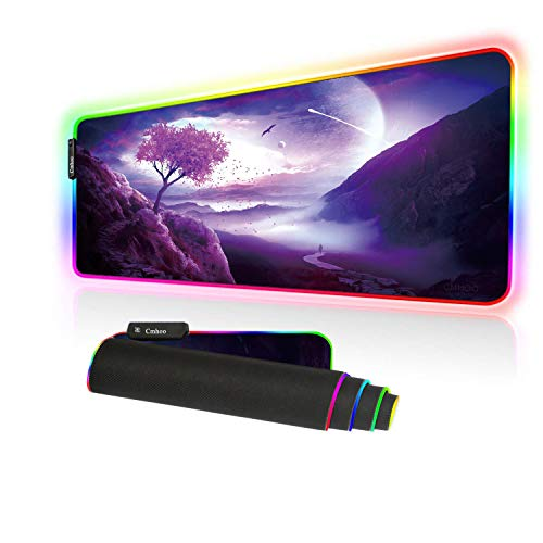 Large Gaming Mouse Pad - 10 Light Modes Oversized Glowing Led Extended Mousepad, High Speed Tracking Surface Non-Slip Rubber Base (80x30 FGtriptree)