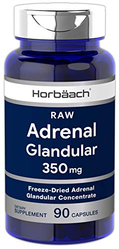 Raw Adrenal Glandular | 350 mg | 90 Capsules | Non-GMO, Gluten Free Supplement | by Horbaach