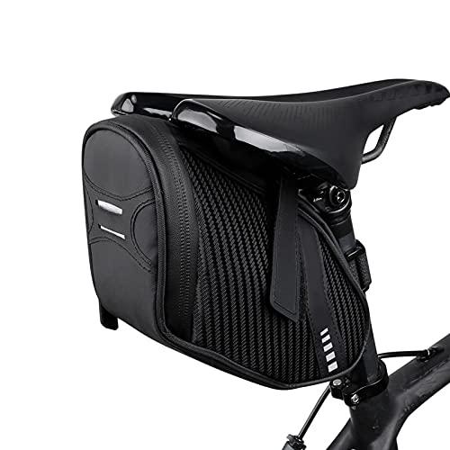 FralnFit Bolsa de sillín de bicicleta de gran capacidad, bolsa de bolsa de cuadro de bicicleta impermeable, bolsa de bicicleta reflectante para bicicleta MTB de carretera de montaña (negro)
