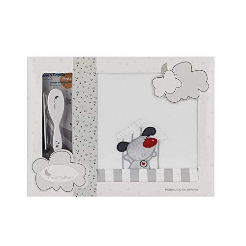Sabanas de Invierno CORALINA Extrasuave CUNA 60X120 Puppy - (bajera+encimera+funda almohada) - Color: Blanco/Gris - OFERTA