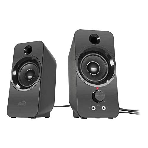 SPEEDLINK Daroc Stereo Speaker - PC Lautsprecher (Anschluss für Kopfhörer - Anschluss über 2 Klinkenstecker - 2m Kabellänge), schwarz
