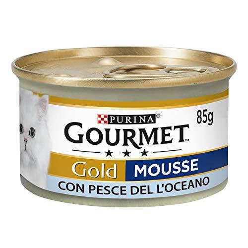 Purina Gourmet Gold Húmedo Gato Mousse con pez del océano, 24 latas de 85 g Cada uno, 24 Unidades de 85 g ✅