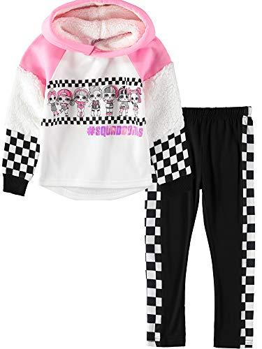 L.O.L. Surprise! Baby Girls Pullover Fleece Hoodie Sweatshirt, Top and Leggings 2 Piece Set, White/Pink/Black, 6
