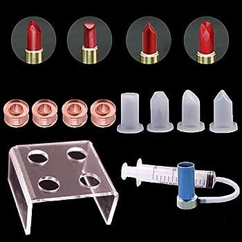 Kalolary 4 Holes Simple Design DIY Makeup Cosmetics Lipstick Mould Silicone Mold Making Tool Set with Lipstick demoulder Bird Beak-Shape + Heart-Shape + Diamond-Shaped + Double-Beveled